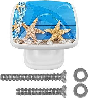 Paquet de 4 boutons d'armoire de cuisine, boutons pour tiroirs de commode Boîte en bois bleue océan d'étoile de mer Tire l...
