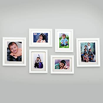 Ajanta Royal Set of 6 Individual Photo Frames (4-6x8 and 2-8x10 Inch)-White: A-89C