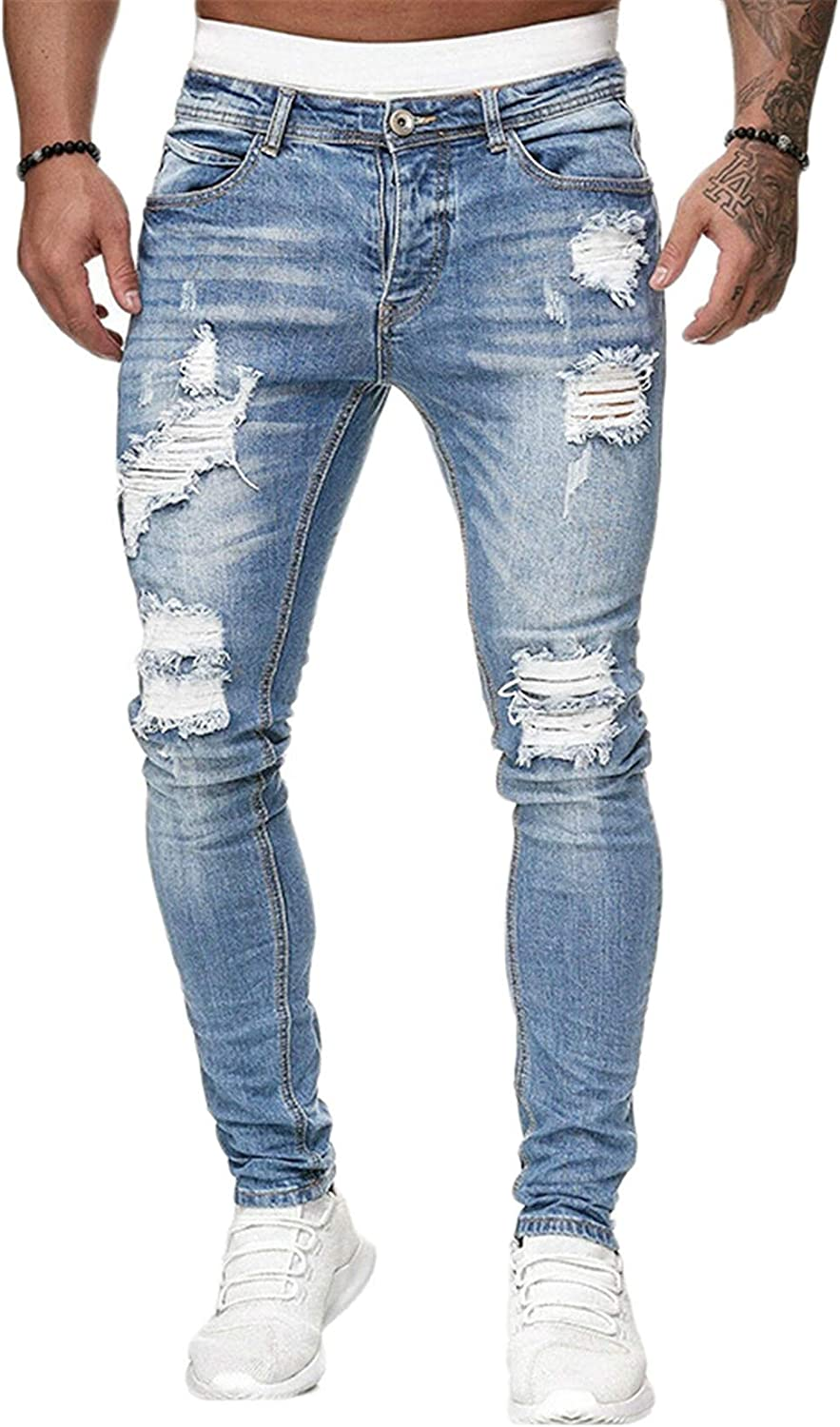 Andongnywell Men's Casual Slim Fit Distressed Denim Pants Ripped Skinny Destroyed Zipper Jeans with Pockets