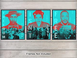 Martin Luther King, MLK, Rosa Parks, Malcolm X Black Leaders Wall Art Print Set - Great Home Decor for Classroom, Den, Office - Gift for Teachers, African Americans, Black History Month, Civil Rights