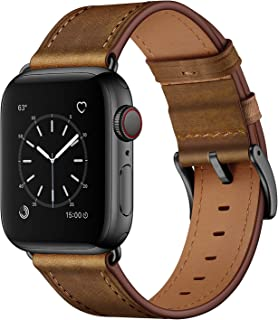 OUHENG Compatible with Apple Watch Band 42mm 44mm, Genuine Leather Band Replacement Strap Compatible with Apple Watch Seri...