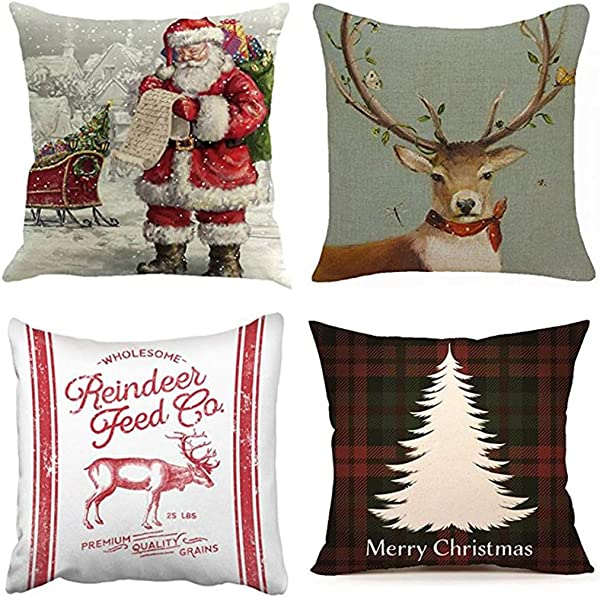 Emvency Set Of 4 Throw Pillow Covers Christmas Reindeer Red Santa Claus Deer1 Farmhouse Feed Sack Buffalo Decorative Pillow Cases Home Decor Square 20x20 Inches Pillowcases