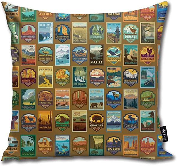 National Parks Pattern Throw Pillow Covers Decorative Pillow Cases Home Decor Square 20x20 Inches Pillowcases