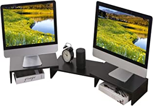 TAVR Wood Dual Monitor Stand Riser with Length and Angle Adjustable 3 Shelf Multifunctional Desktop Organizer Computer Tab...
