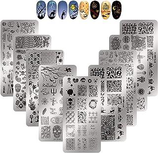 SUSSURRO - 9 plantillas para uñas de Halloween, diseño de calabaza, calabaza, calabaza, calabaza, murciélago, plantillas d...