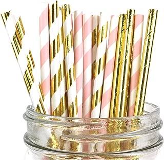 Just Artifacts Assorted Decorative Striped Paper Straws 100pcs - Light Pink/Metallic Gold Striped w Solid Metallic Gold