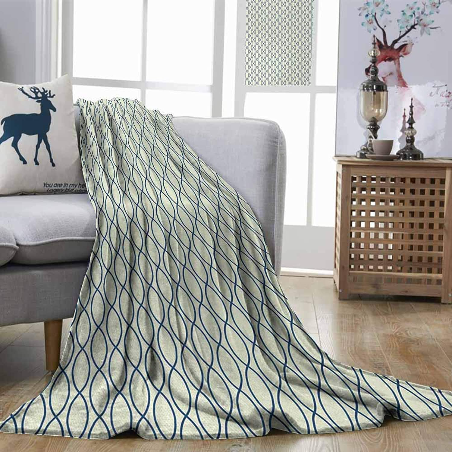 Fashion Throwing Blanket Abstract greenical Curvy Lines Form Elliptic Shapes Fishing Net Lattice Pattern Light Yellow Navy bluee Print Summer Quilt Comforter W51 xL60