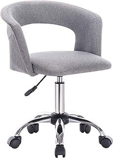 WOLTU BS30hgr Chaise de Bureau Tabouret à Roulette en Lin,Tabouret de Travail Tabouret Roulant avec accoudoir, réglable en...