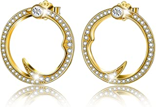 Esberry 18K Gold Plated 925 Sterling Silver Cubic Zirconia Hoop Earrings Circle Thorns Shape Stud Earrings for Women and G...