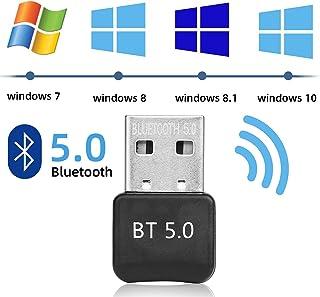 Yizhet Adaptador de Bluetooth 5.0 Bluetooth USB PC Bluetooth Transmisor y Receptor para PC con Windows XP/7/8/8.1/10/Vista, Plug and Play Compatible con Auricular/Altavoz/Ratón/Teclado