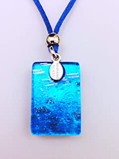 Murano Glass Light Blue Rectangle Necklace