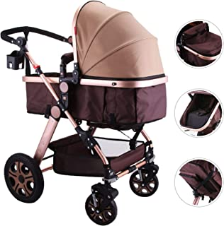 Happybuy Baby Stroller Portable Baby Carriage Stroller Foldable Luxury Baby Stroller Adjustable High View Pram Travel System Infant Carriage Pushchair(2in1/Gold)