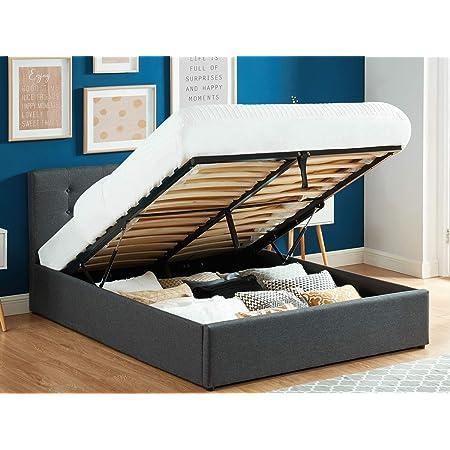 HOMIFAB Lit Coffre 140x190 en Tissu Gris Anthracite avec tête de lit et sommier à Lattes - Collection Tina
