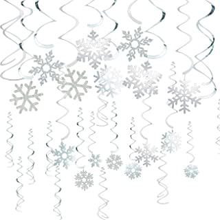 Juvale 30-Pack of Snowflake Party Decorations - Hanging Christmas Whirl Decorations, Festive Decorfor Xmas Season, Winter Wonderland Parties, Silver