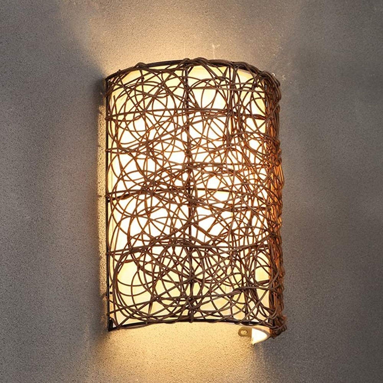 BDYJY Wandleuchte LED Beleuchtung Rattan Wandleuchte Nordic Kreative Nachttischlampe Mode Persnlichkeit Treppe Korridor Dekorative Wandlampen