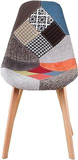 ZXCN Juego de 4 sillas de Comedor de Lino Sillas de Cocina de Madera sillas de OficinaPatchwork Multicolor (Azul)