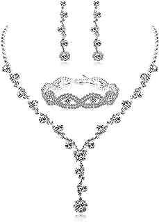 Finrezio Set di Gioielli Damigella d'Onore per Matrimoni Collana Orecchino E Braccialetto di Cristallo