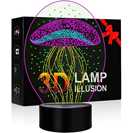 Details about  /3D Illusion Jellyfish LED Night Light Table Desk Mood Lamp Bedroom Home Decors