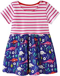 GSVIBK Kids Cotton Dresses Baby Casual Dress Girls Cute Cartoon Dress Toddler Dinosaur Dresses