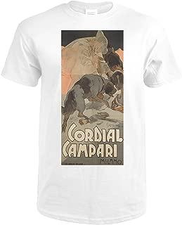 Cordial Campari Vintage Poster (artist: Hohenstein) Italy c. 1901 60770 (Premium White T-Shirt Large)