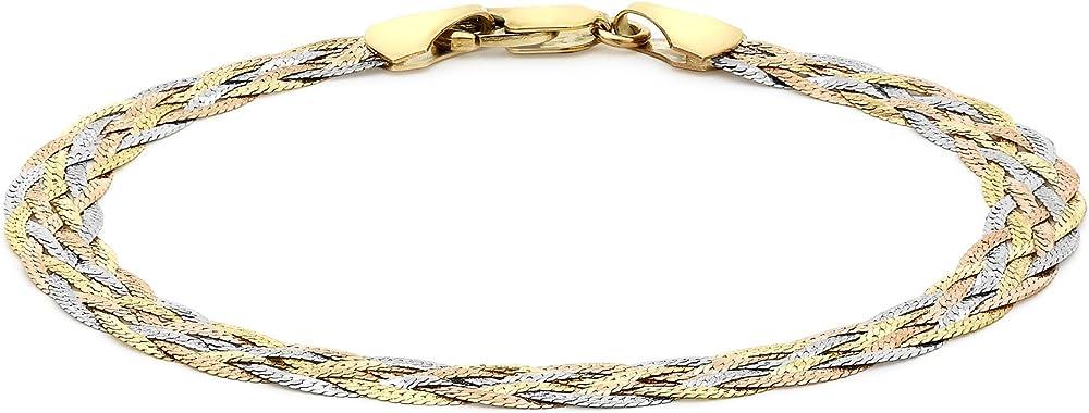 Carissima gold, bracciale da donna in oro giallo, bianco, rosso 9k (375) 3.22.7121