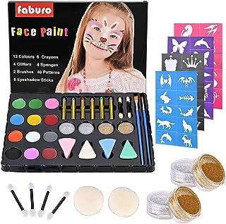 Fabur Maquillaje al Agua 36 Piezas Set de Pintura Facial Pinturas Cara y Corporales para niños Fiestas Halloween
