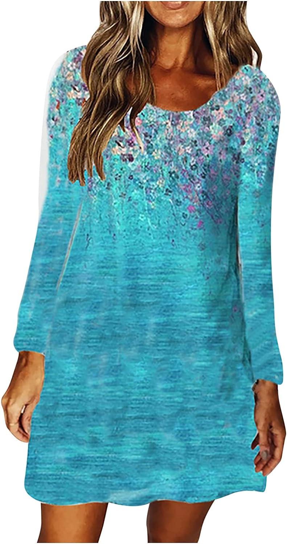 Womens Short Dresses Sexy Crewneck Sun Dresses Long Sleeve Summer Fall Dress Fashion Print Dress Loose Fit