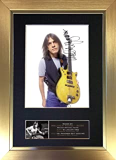 #690 Malcolm Young ACDC Signed Autograph Photo Reproduction Print A4 Rare Perfect Birthday (297 x 210mm) (Gold Frame)