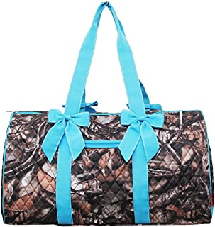 """NGIL Quilted Weekend Travel Overnight 20"""" Large Duffle Bag 2018 Spring Collection (Camo Turquoise)"""