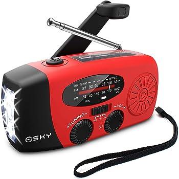 [Upgraded Version]Emergency Radio, Esky 3 LED Lights Flashlight Hand Crank Radio, Portable Solar Radio AM/FM NOAA Weather Radio, 1000mAh Power Bank USB Charger for iPhone/Smart Phone (Red)
