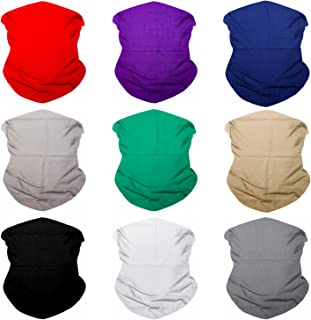 Sojourner 9PCS Seamless Bandanas Face Mask Headband Scarf Headwrap Neckwarmer & More - 12-in-1 Multifunctional for Music Festivals, Raves, Riding, Outdoors