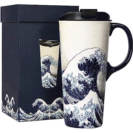 Amazon Com Topadorn Tall Ceramic Travel Mug 17 Oz Coffee Cups Sealed Lid With Color Box Purple Flower Coffee Cups Mugs