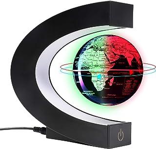 Magnetiska flytande och leviterande glober 3 tum världskarta med LED-lampor, coola saker och kontorsinredning för män unik...