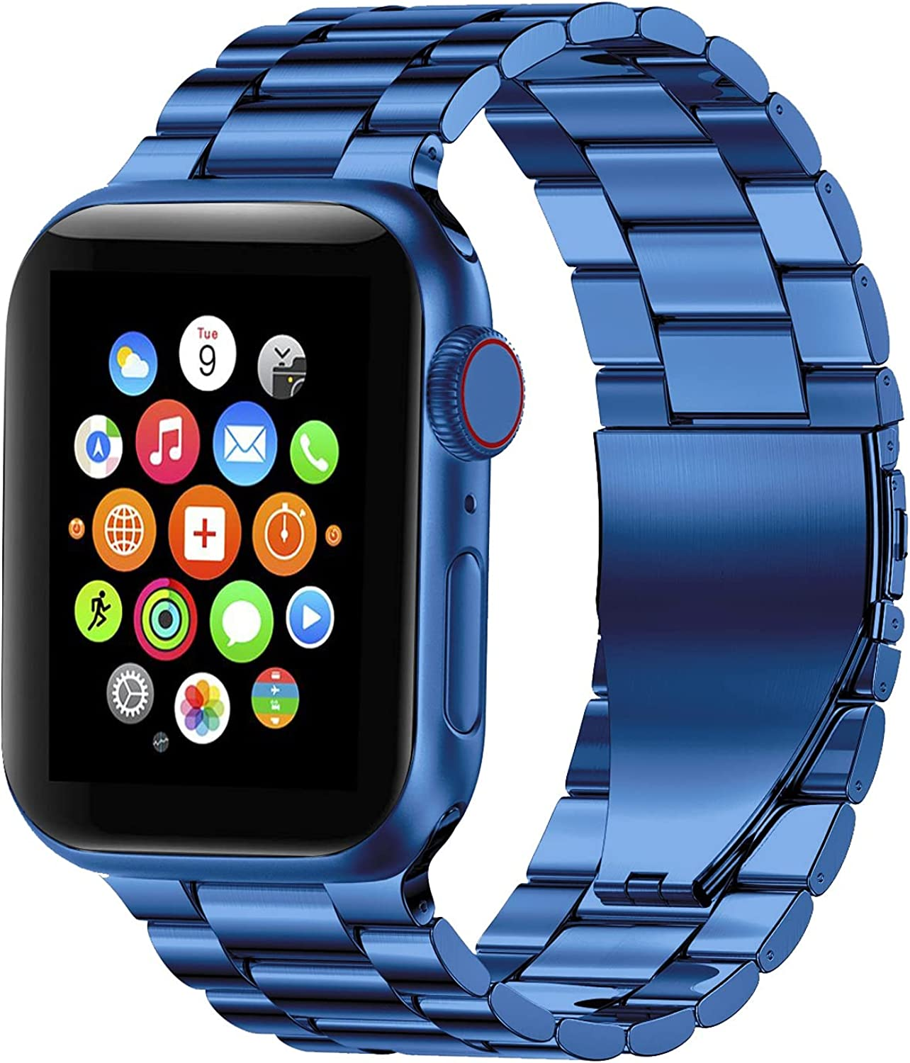 Fitlink Stainless Steel Metal Band for Apple Watch 45/44/42/41/40/38mm, Apple Watch Band Bracelet for Apple Watch Series 7 Apple Watch Series 6 Apple Watch Series 5/4/3/2/1