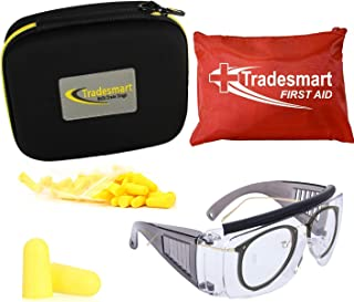 TRADESMART Over-Prescription Safety Glasses & Case – Shooting Ear Plug & Eye Protection for The Gun Range with Hard Case, – UV400 Anti-Fog and Anti-Scratch Indoor & Outdoor Glasses – Optional FirstAid