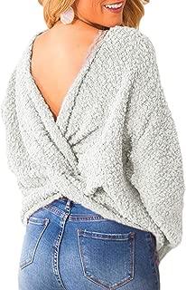 CILKOO Women'sVNeckCrissCrossBacklessLongBatwingSleeveLooseTwist Knot Tops for Women KnittedSweaterPullovers Grey US12-14 Large