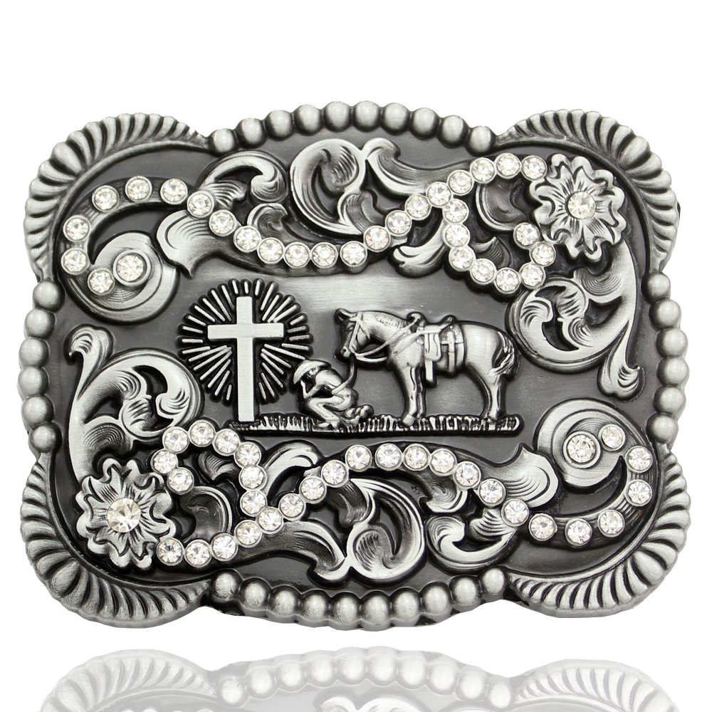 Men Vintage Silver Native 3D Cowboy 2021 2021 autumn and winter new Horse Prayer Church Cross Cr