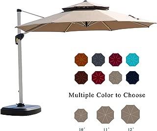 PURPLE LEAF 12 Feet Double Top Round Deluxe Patio Umbrella Offset Hanging Umbrella Outdoor Market Umbrella Garden Umbrella, Beige