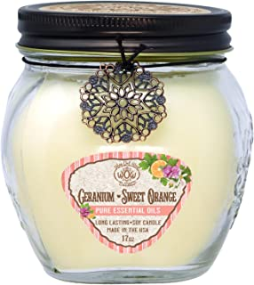 Way Out West 17 oz Jar Aromatherapy Candle with Essential Oils of Geranium and Sweet Orange- Soy Wax Blend Made in America