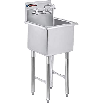 """DuraSteel Stainless Steel Prep & Utility Sink - 1 Compartment Commercial Kitchen Sink - NSF Certified - 15"""" x 15"""" Inner Tub Size with 6"""" Swivel Spout Faucet (Kitchen, Laundry, Backyard, Garages)"""