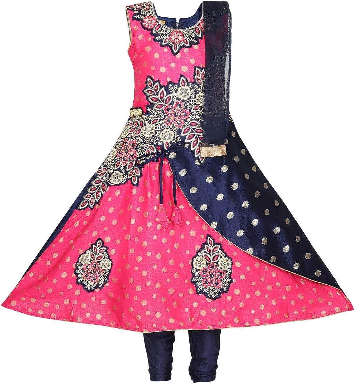 Ashwini Girls 秀逸 Pink Polyester Embroidery Zip with Salwar Suit Clo スーパーセール