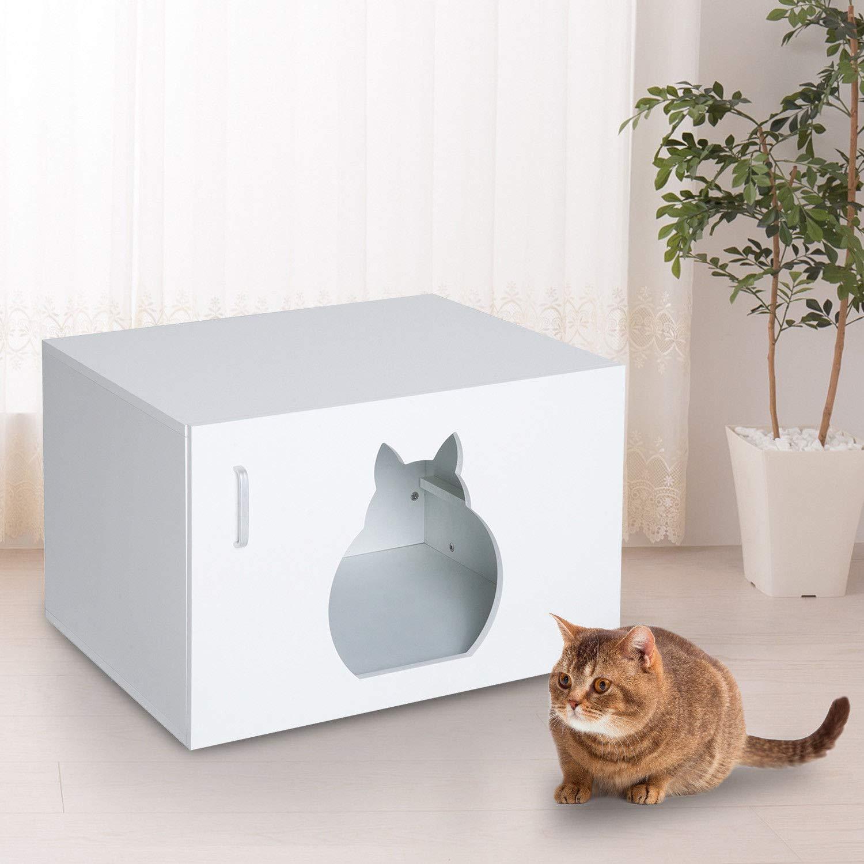 Ekas Cat Litter Box Cabinet Pet Kitty House Stand Bathroom