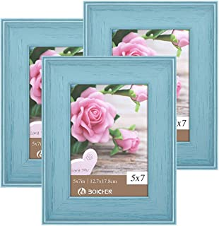 Boichen 5x7 Picture Frames Rustic Solid Wood High Definition Glass for Tabletop Display and Wall Mounting Photo Frame Blue 3 Pack