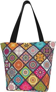 Canvas Tote Bag Handtasche Casual Schultertasche Satchel mit Reißverschluss für Frauen Arbeit Schule Reisen Einkaufen Pick...