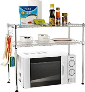 EMBAY Microwave Oven Rack Organiser Chrome, 2-Tier Storage Unit Stand Shelves with 4 Hooks for Kitchen Utensils, Towels, and Accessories 60 * 30 * 52cm
