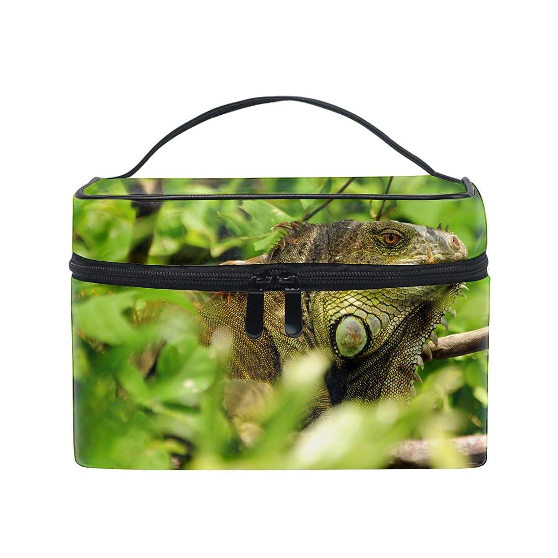 不利プラスチックいつでもグリーンイグアナトカゲ野生の自然林コスメポーチ メイクポーチ トイレタリーバッグ トラベルポーチ PC周辺小物整理