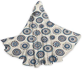 Adult Hooded Halloween Cloak Costumes Party Cape,Cute and Folk Mandala Art Motifs in Marine Style On Faded Hearts Stars and Dots
