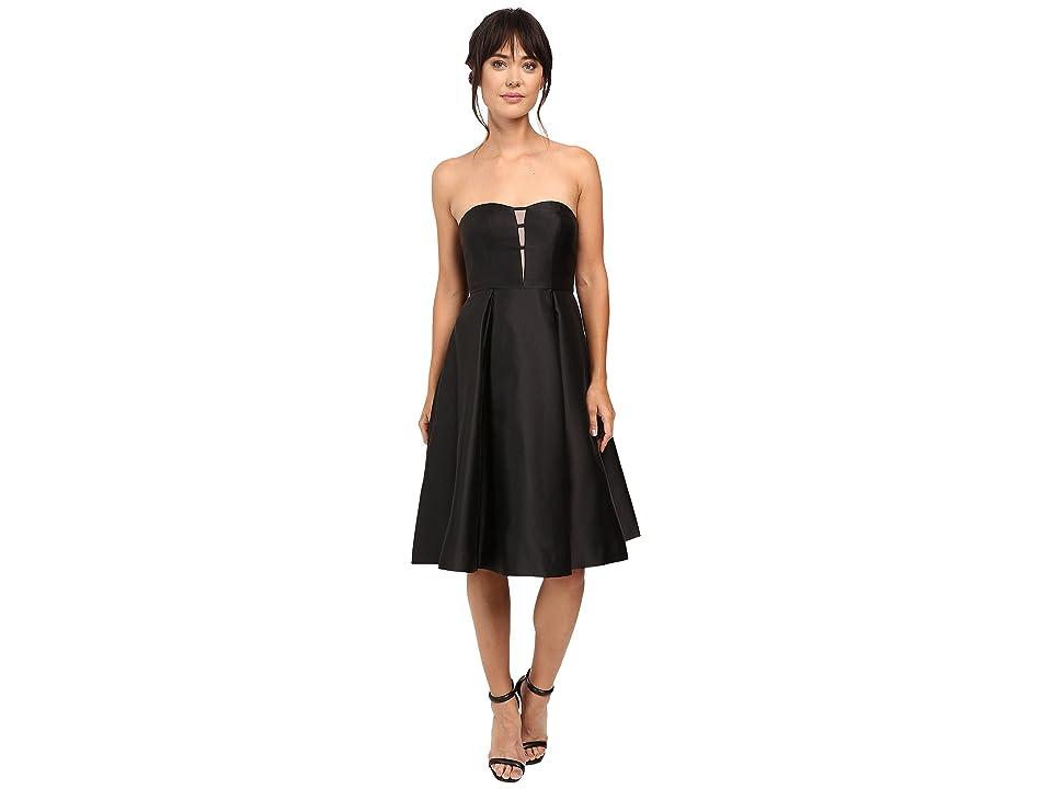 Adrianna Papell Strapless Mikado Party Dress (Black) Women
