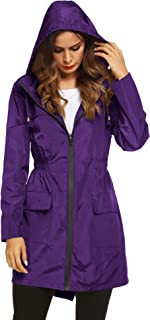 LOMON Women Waterproof Lightweight Rain Jacket Active Outdoor Hooded Raincoat