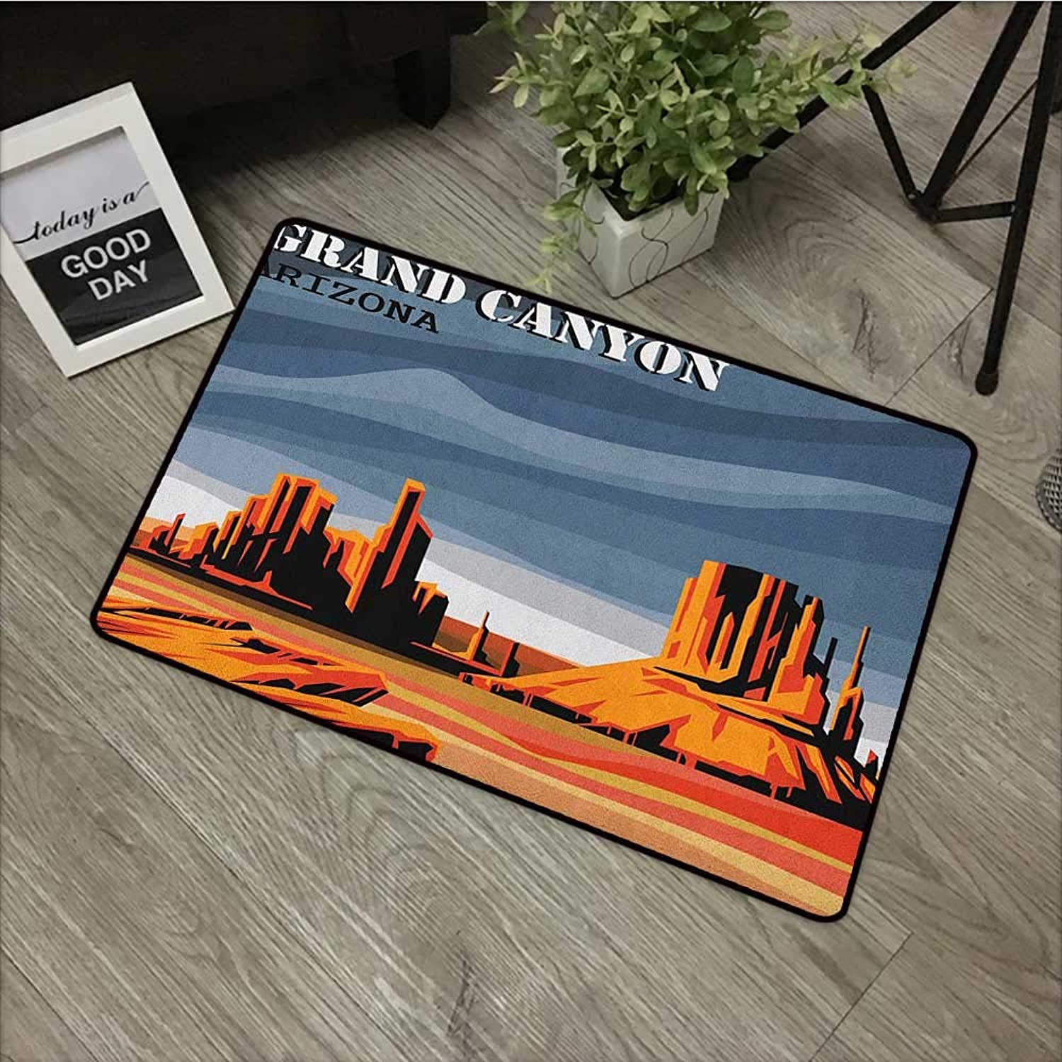 Square Door mat W35 x L59 INCH Canyon,Major Canyon Fantastic Shadows and Contrasts with Digital Added Dimesions Print, bluee orange Non-Slip, with Non-Slip Backing,Non-Slip Door Mat Carpet